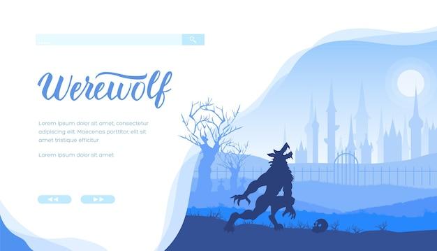 Fantasia, storie mistiche progettazione del layout banner web con lo spazio del testo