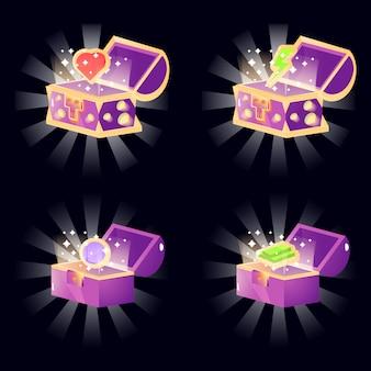 La scatola aperta sul petto di fantasy mostra la ricompensa