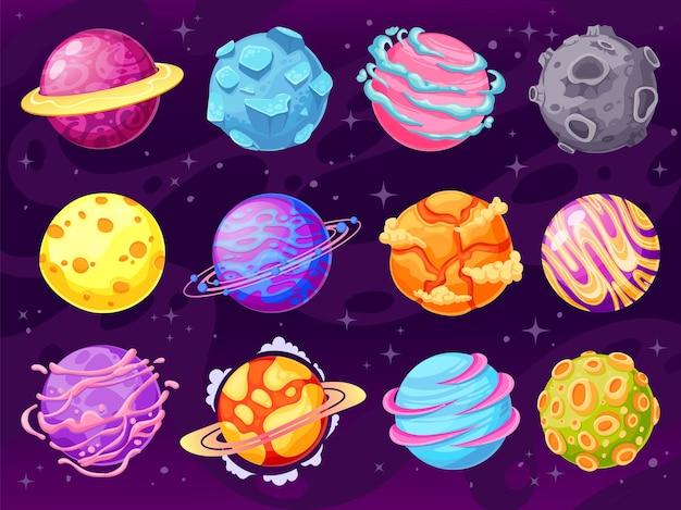 Pianeti di fantasia. oggetti colorati del pianeta cosmico per il design del gioco fantastico mondo della galassia, set di vettori di cartoni animati dell'universo spaziale di astronomia. spazio cosmico dell'illustrazione, pianeti del fumetto della raccolta