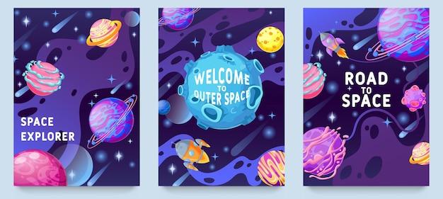 Poster per bambini di pianeti fantasy. oggetti cosmici multicolori, design del mondo della galassia spaziale per volantini, riviste, poster o set di vettori di copertine di libri. benvenuto nello spazio esterno, esplorazione su razzo o astronave