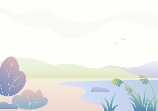 Fantasia, paesaggio autunnale semplice rurale con lago, natura moderna sfumata.