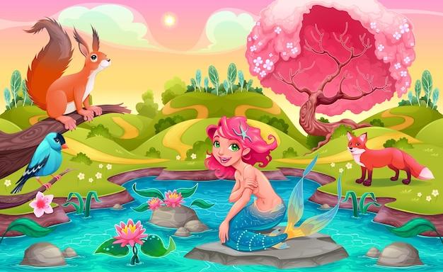 Fantasia scena con sirena e animali illustrazione cartoon vettoriale
