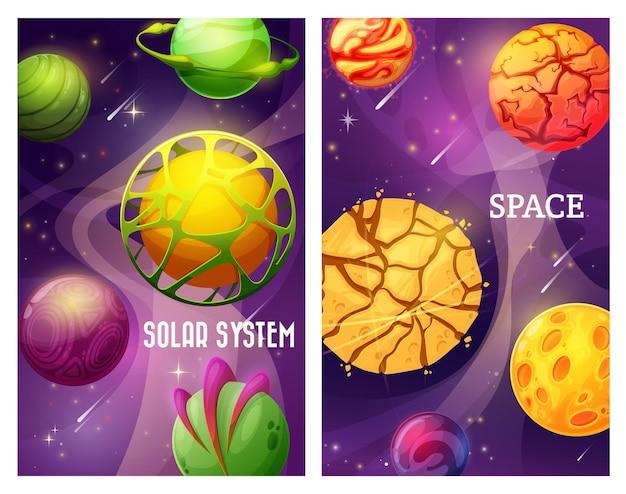 Galassia spaziale di fantasia, pianeti del mondo alieno dei cartoni animati con stelle e satelliti