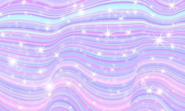 Universo fantasy. sfondo fata. stelle magiche olografiche. modello unicorno. sfondo di caramelle.