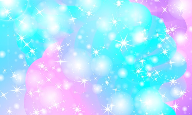Universo di fantasia. sfondo di fata. illustrazione vettoriale. stelle magiche olografiche. modello di unicorno. sfondo di caramelle.