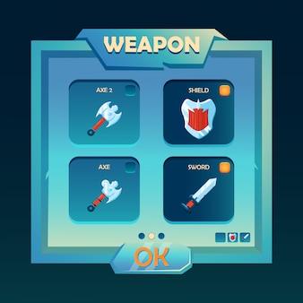 Interfaccia pop-up per la selezione di armi di fantasia