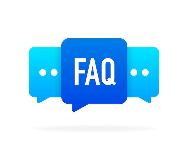 Bolla di messaggio di chat faq. servizio di assistenza. illustrazione vettoriale.