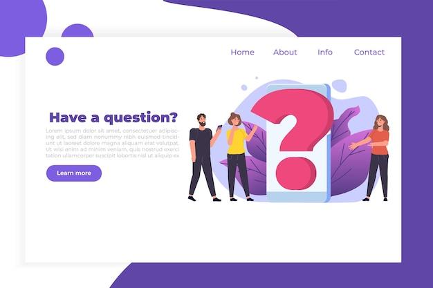 Faq, domande frequenti, manuale utente o guida, concetto del centro di supporto in linea. personaggi di persone in piedi vicino al punto interrogativo gigante.