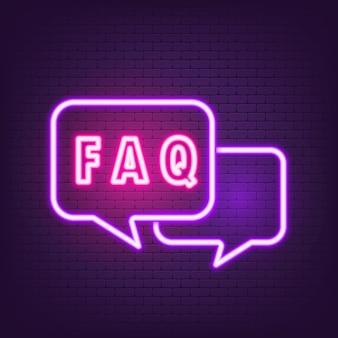 Faq icona neon. concetto di supporto. elementi per concetti mobili e app web. eps vettoriale 10