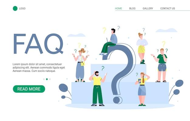 Pagina di destinazione delle domande frequenti per il sito web con persone preoccupate e dubbiose