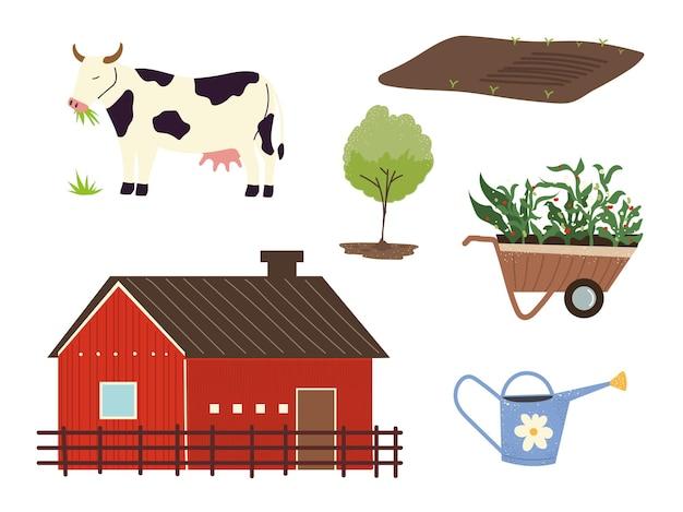 Fattoria e agricoltura fienile mucca albero carriola e annaffiatoio illustrazione