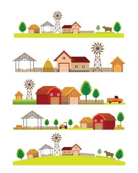 Insieme dell'orizzonte di paesaggio di fattoria, agricoltura e costruzione