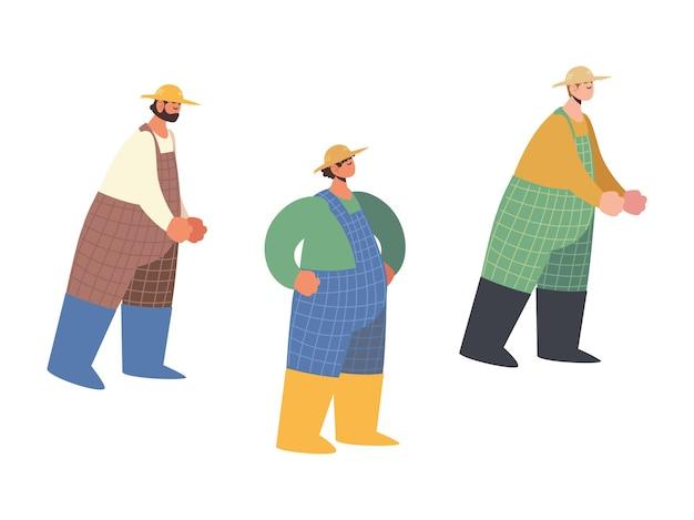 Fattoria e agricoltura, personaggi maschili contadini con tuta e illustrazione del cappello