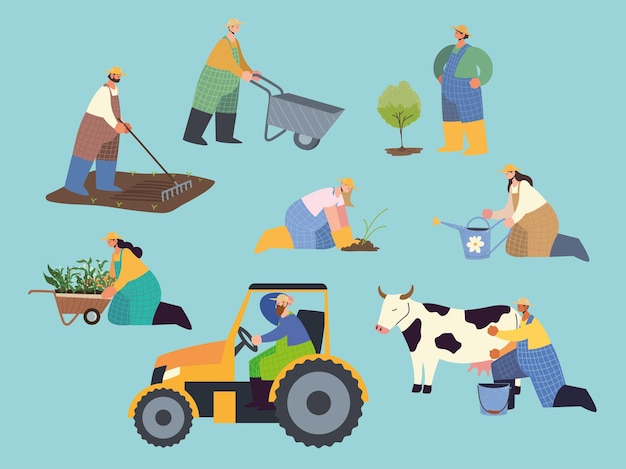 Fattoria e agricoltore agricolo persone che lavorano e piantano illustrazione