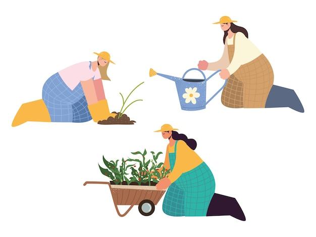 Agricoltori femminili di fattoria e agricoltura con annaffiatoio, carriola e illustrazione di semina