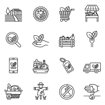 Insieme dell'icona di linea di fattoria e agricoltura. agricoltori, piantagioni, giardinaggio, animali, oggetti, camion mietitori, trattori.