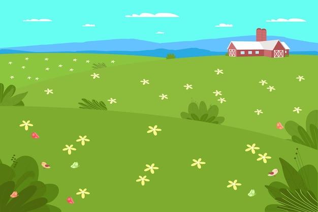 Fattoria e agricoltura. paesaggio rurale con campo, alberi, erba, fiori. area eco pulita con cielo azzurro, montagne e nuvole. villaggio in estate. illustrazione piana di vettore.