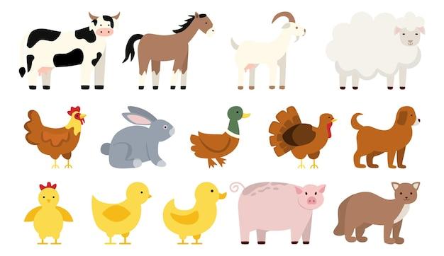 Insieme di animali da fattoria e uccelli insieme di animali di campagna anatra e pollo