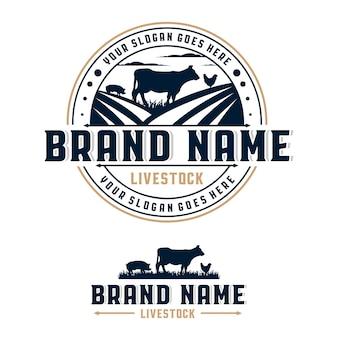 Modello di logo del distintivo del cerchio del bestiame animale da fattoria