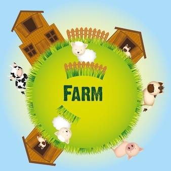 Animali da fattoria e illustrazione vettoriale fienile Vettore Premium