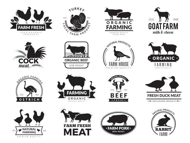 Animali da fattoria. logo aziendale con animali domestici mucca pollo capra cibo sano simboli fattoria raccolta
