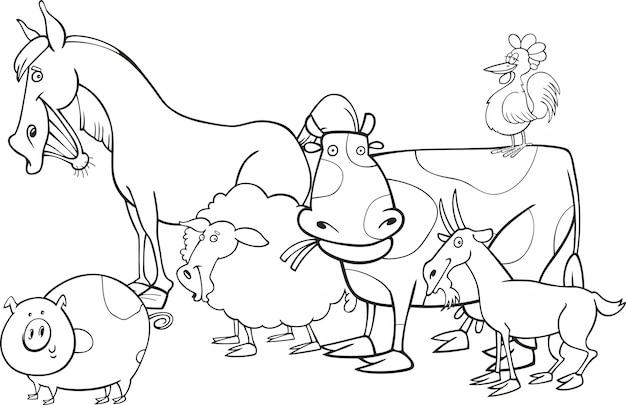 Animali da fattoria per libro da colorare