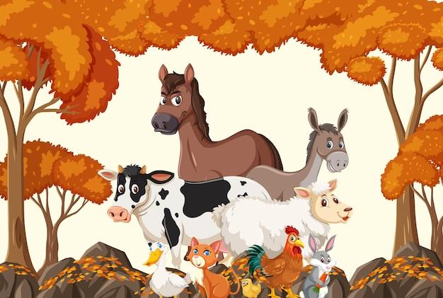 Gruppo di animali da fattoria nella scena della foresta autunnale