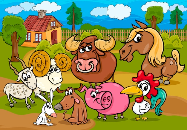 Illustrazione del fumetto del gruppo degli animali della fattoria