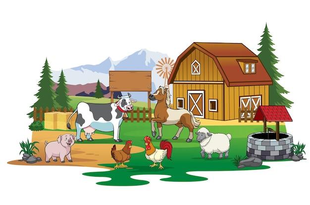 Animali da fattoria vicino al fienile