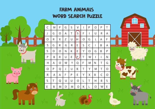 Puzzle di ricerca di parole di animali da fattoria per bambini. divertente rompicapo per bambini.