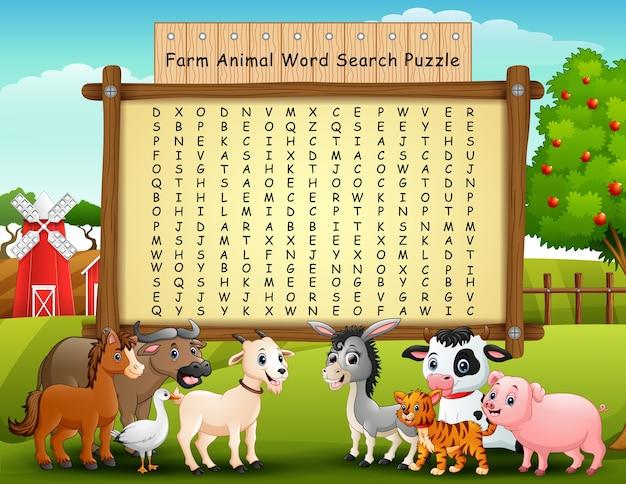 Puzzle di ricerca di parola di animali da allevamento