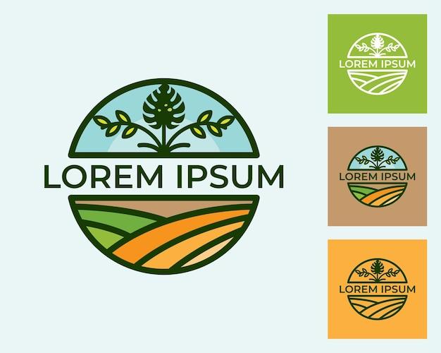 Modello di disegno dell'illustrazione del distintivo dell'azienda agricola, distintivo di agricoltura con disegno dell'icona della pianta di monstera isolato su sfondo bianco, design in stile retrò.