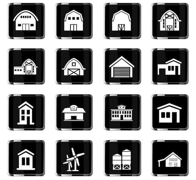 Icone vettoriali per edifici agricoli per la progettazione dell'interfaccia utente