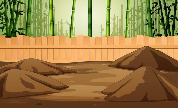 Gabbia da fattoria nell'illustrazione della foresta di bambù