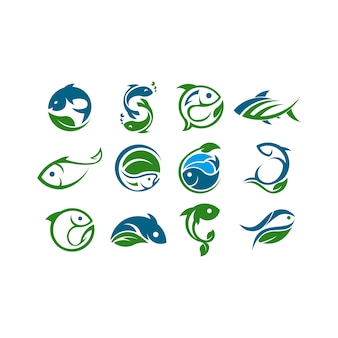 Logo del concetto di fattoria. modello con fattoria e pesce. etichetta per prodotti agricoli naturali.