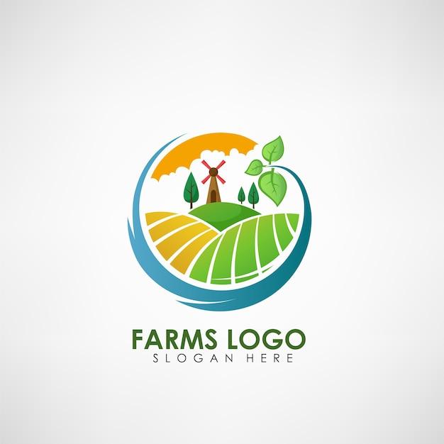 Modello di logo concetto di fattoria