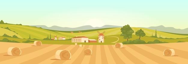 Fattoria nell'illustrazione di colore piatto di campagna. paesaggio del fumetto 2d di terreni agricoli con montagne sullo sfondo.