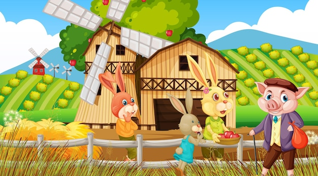 Fattoria in scena diurna con vecchio contadino e animali da fattoria