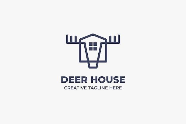 Farm deer house monoline logo aziendale