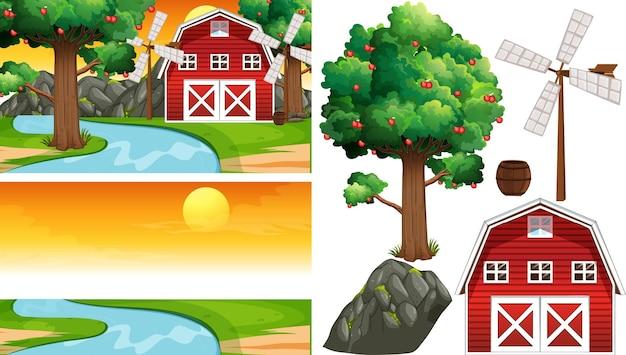 Insieme di elementi di fattoria isolato con profumo di fattoria