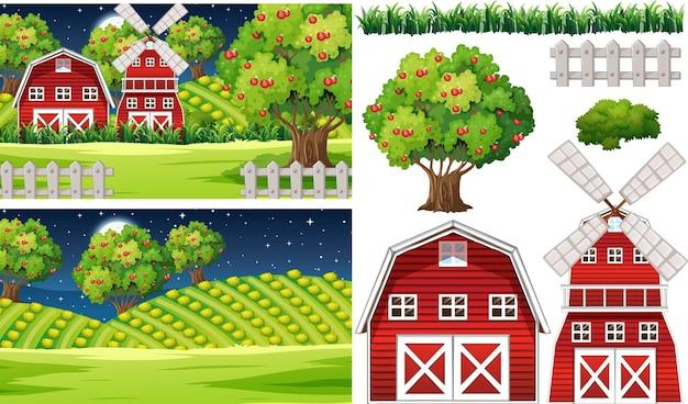 Insieme di elementi di fattoria isolato con scena di fattoria