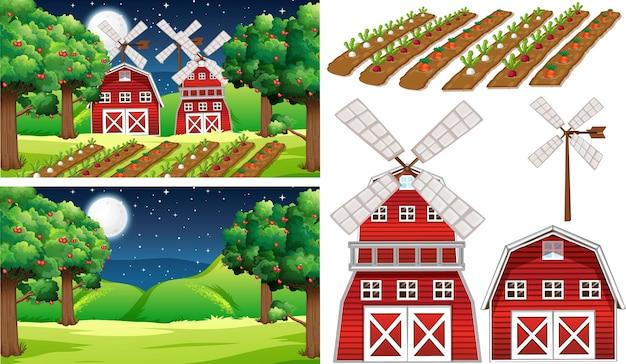 Set di elementi di fattoria con profumo di fattoria
