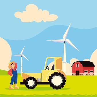 Agricoltore agricolo e trattore