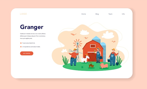Fattoria, banner web o pagina di destinazione dell'agricoltore