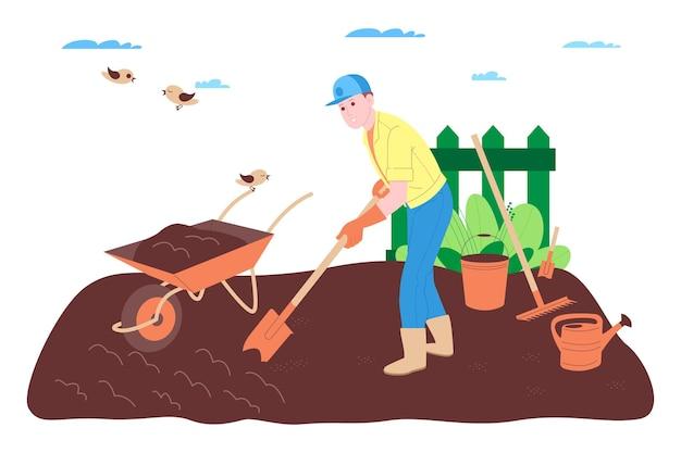 Fattoria, allevamento e agricoltura. un contadino lavora in una fattoria, in un frutteto o in un orto: scava il terreno, fa i letti, pianta piantine di frutta e verdura e innaffia le piante.