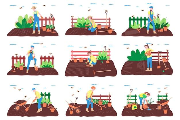 Set di fattoria, allevamento e agricoltura. un contadino lavora in una fattoria, in un frutteto o in un orto: scava il terreno, fa i letti, pianta piantine di frutta e verdura e innaffia le piante.