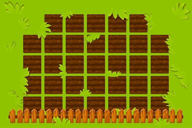 Campo di fattoria con staccionata in legno per giocare. sfondo del letto da giardino della gui del gioco.
