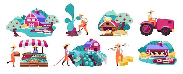Set di illustrazioni piatte di fattoria. orticoltura e orto. il mercato degli agricoltori produce il concetto. allevamento di bovini, bestiame e pollame. piantagione agricola. terreno agricolo rurale, villaggio