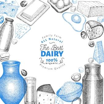 Modello di progettazione di cibo di fattoria. illustrazione di latticini disegnati a mano.