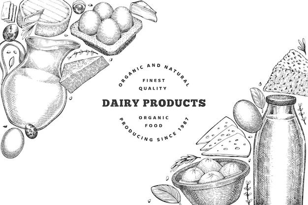 Modello di disegno di cibo di fattoria. illustrazione disegnata a mano della latteria di vettore. insegna di diversi prodotti lattiero-caseari e uova in stile inciso. sfondo di cibo retrò.